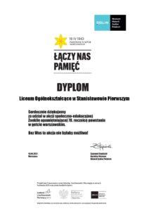 Dyplom uzyskany za udział w akcji Żonkile 2021
